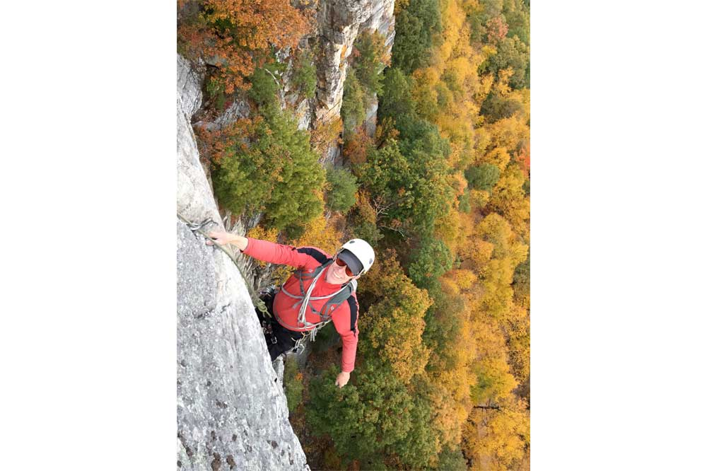 Kit Moore at the age of 75 climbing in the Gunks.